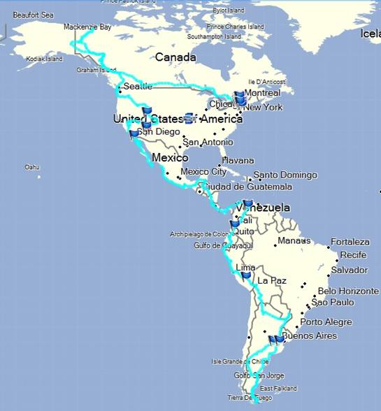 Map of North to South America